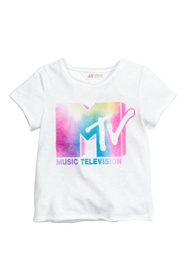T-shirt avec impression - Blanc/MTV - ENFANT | H&M BE