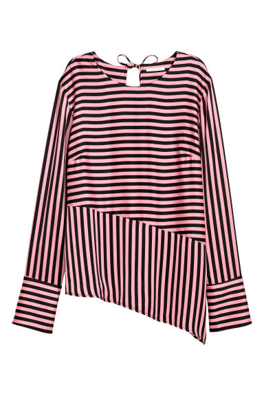 Asymmetric blouse - Pink/Black striped - Ladies | H&M
