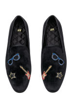Velour loafers - Black/Guitar - Men | H&M 1
