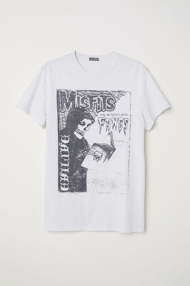Cotton jersey T-shirt - Light grey/Misfits - Men | H&M