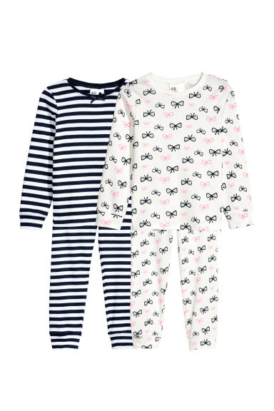 Lot de 2 pyjamas en jersey - Blanc/nœuds - ENFANT | H&M BE