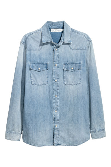 Denim overhemd - Regular fit - Denimblauw - HEREN | H&M NL