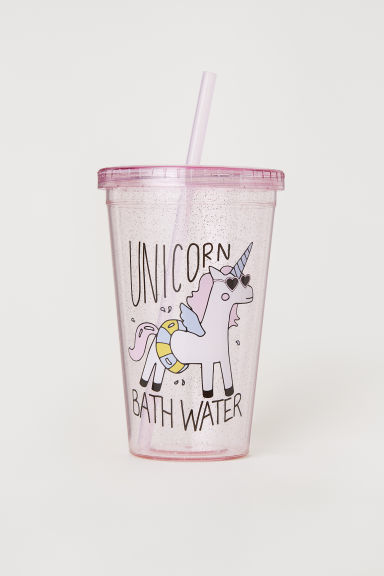 Plastic mug with a straw - Pink/Unicorn -  | H&M CN
