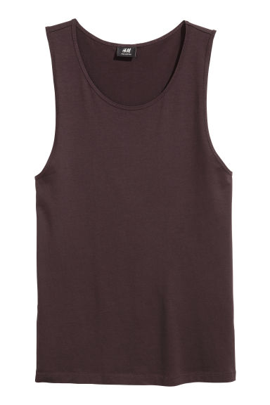 Pima cotton vest top - Dark brown - Men | H&M IE