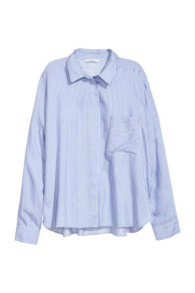 Wide shirt - Blue/White striped -  | H&M