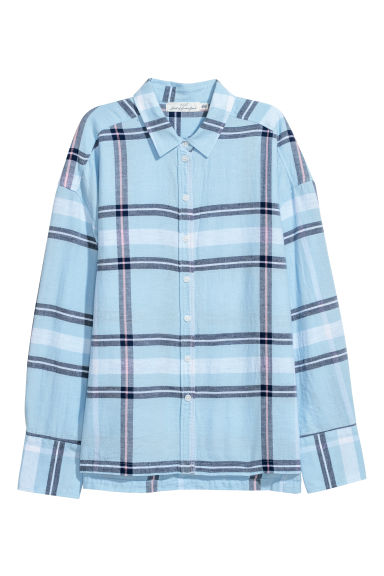 Linen-blend shirt - Light blue/Checked - Ladies | H&M