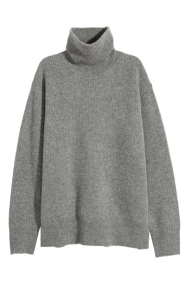 Cashmere-mix polo-neck jumper - Grey - Ladies | H&M