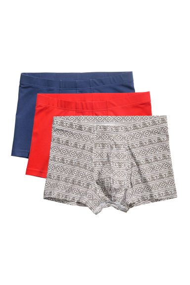 3-pack trunks - Red/Patterned - Men | H&M