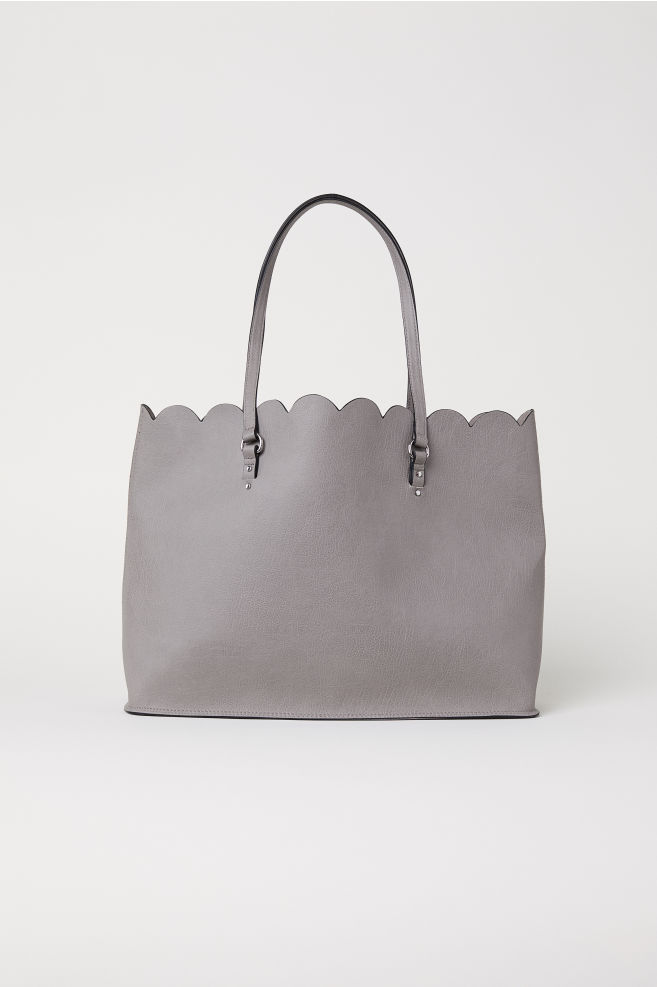 Scallop-edged shopper - Grey - Ladies | H&M IN 1