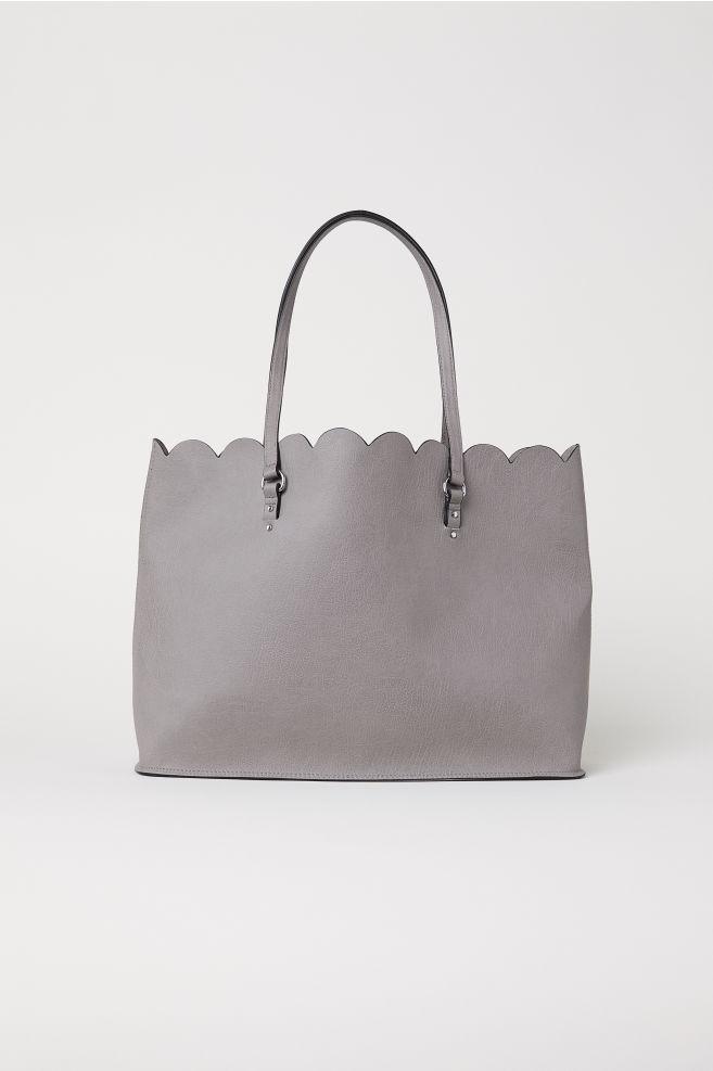 Scallop-edged shopper - Grey - Ladies   H&M IN 1