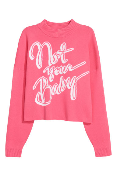 Jacquard-knit jumper - Pink/Not Your Baby -  | H&M