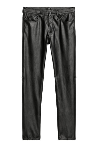 Imitation leather trousers - Black -  | H&M CN