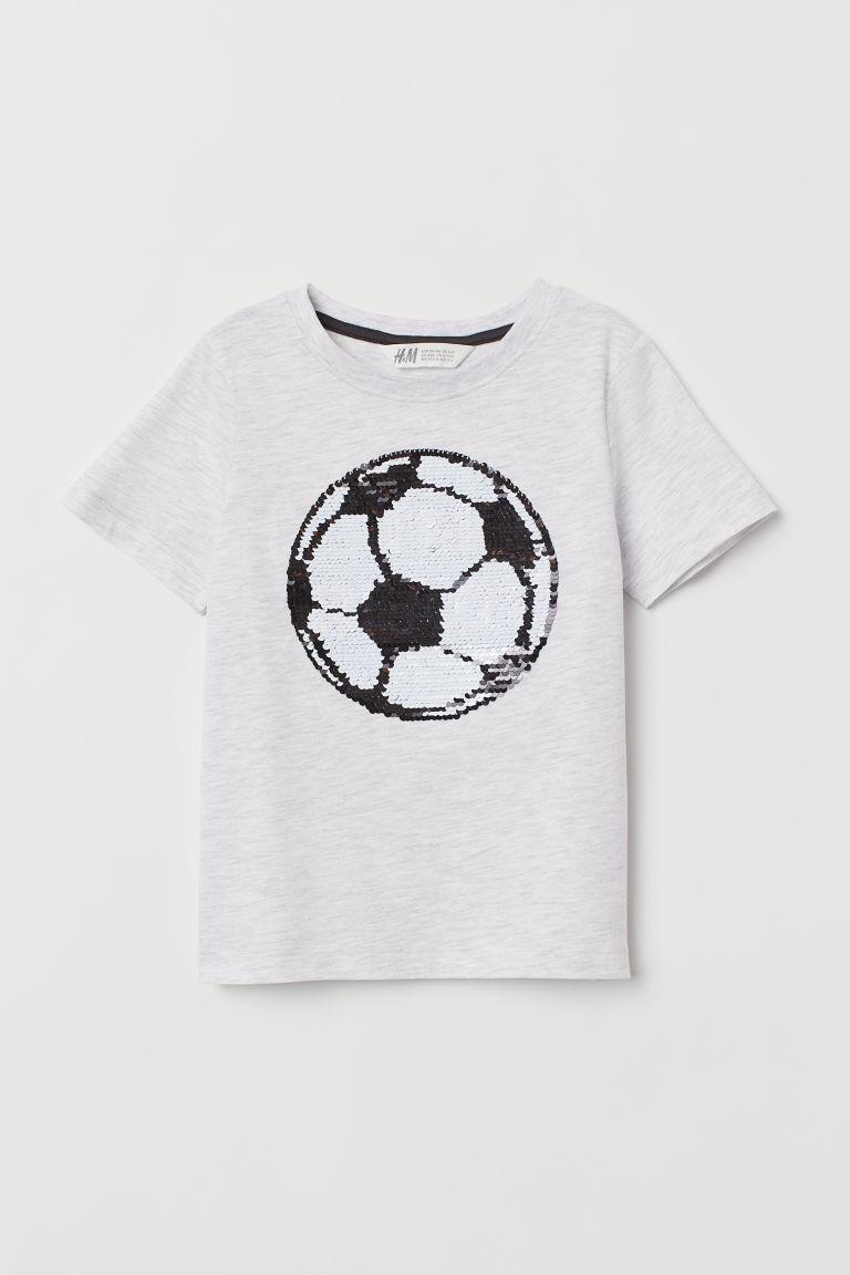 Reversible sequin T-shirt - Grey marl/Football - Kids   H&M GB