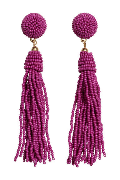 Earrings with glass beads - Magenta - Ladies | H&M GB