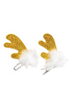 2-pack antler hair clips - Gold-coloured/Glittery - Ladies | H&M CN 1
