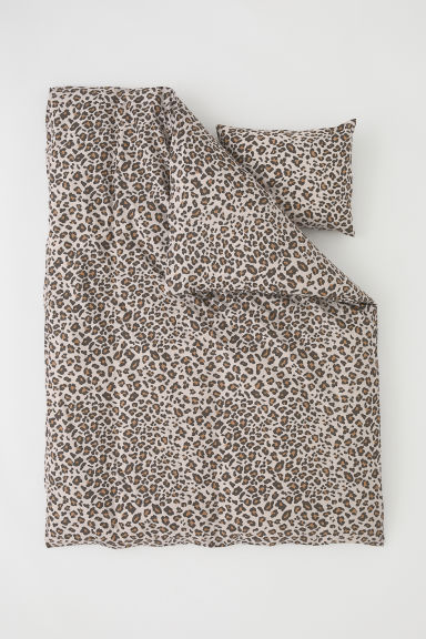 Patterned duvet cover set - Mole/Leopard print - Home All | H&M CN