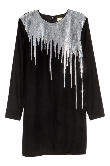 Sequined velour dress - Black/Silver-coloured - Ladies | H&M