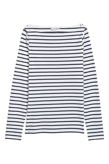 Boat-necked pima cotton top - White/Striped - Ladies | H&M