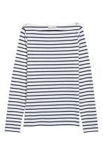 Boat-necked jersey top - White/Striped - Ladies | H&M GB 2