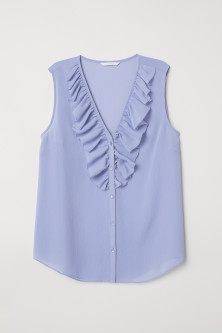 V-neck blouse with a flounce