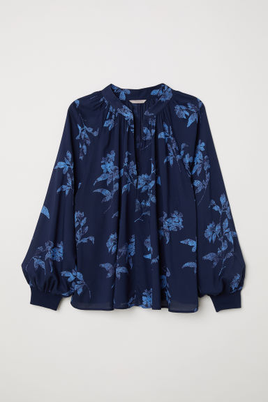 H&M+ Patterned blouse - Dark blue/Patterned - Ladies | H&M