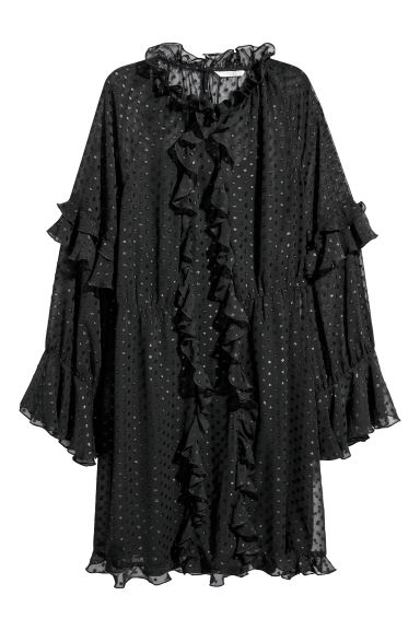Wide frill-trimmed dress - Black/Spotted - Ladies | H&M IE