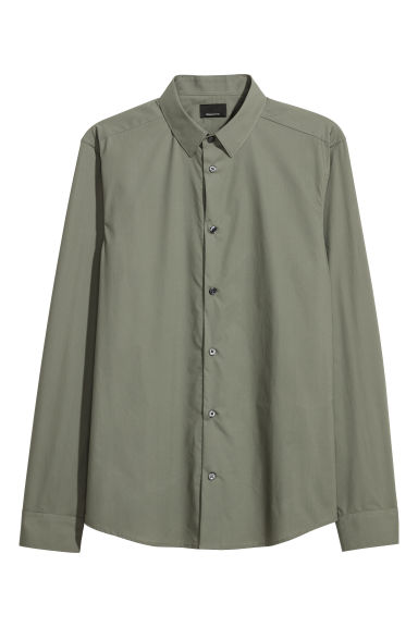 Premium cotton shirt - Khaki green -  | H&M