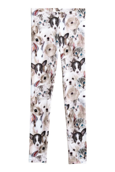 Printed jersey leggings - White/Animals -  | H&M CN