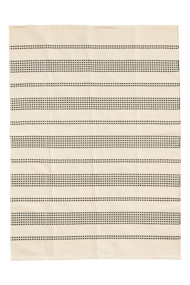 Textured striped cotton rug - Natural white/Anthracite grey - Home All | H&M IE 1