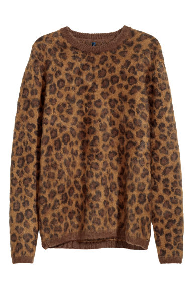 Jacquard-knit jumper - Brown/Leopard print -  | H&M