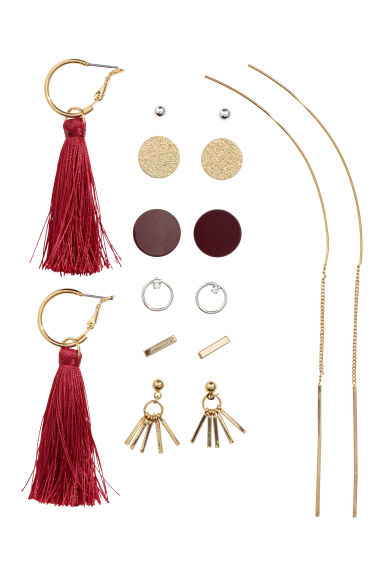 8 pairs earrings - Gold-coloured/Red - Ladies | H&M GB