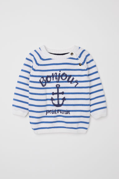 Fine-knit cotton jumper - White/Blue striped -  | H&M CN