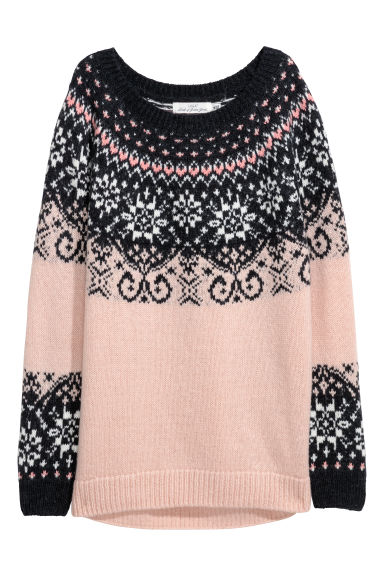 Jacquard-knit jumper - Light pink/Dark grey - Ladies | H&M