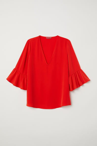 H&M+ V-neck blouse - Bright red - Ladies | H&M CN