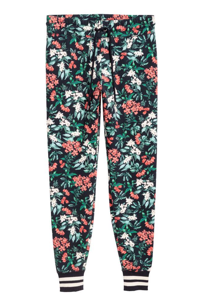 Patterned joggers - Dark blue/Floral - Ladies | H&M GB