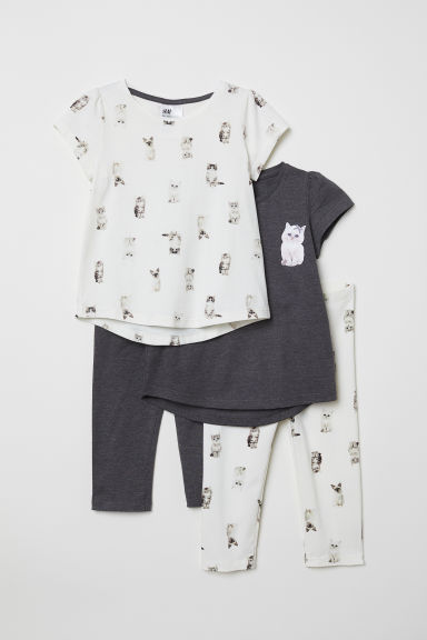 2-pack jersey pyjamas - Natural white/Cats - Kids | H&M CN