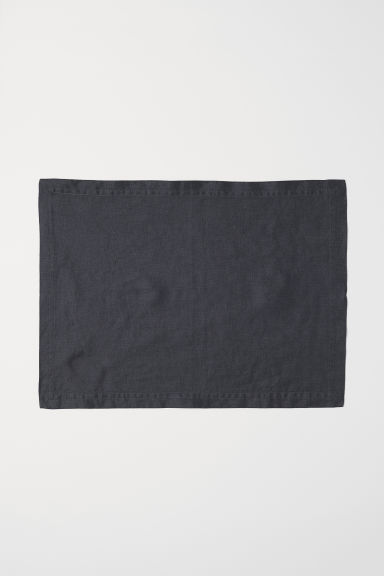 Washed linen table mat - Anthracite grey - Home All | H&M CN