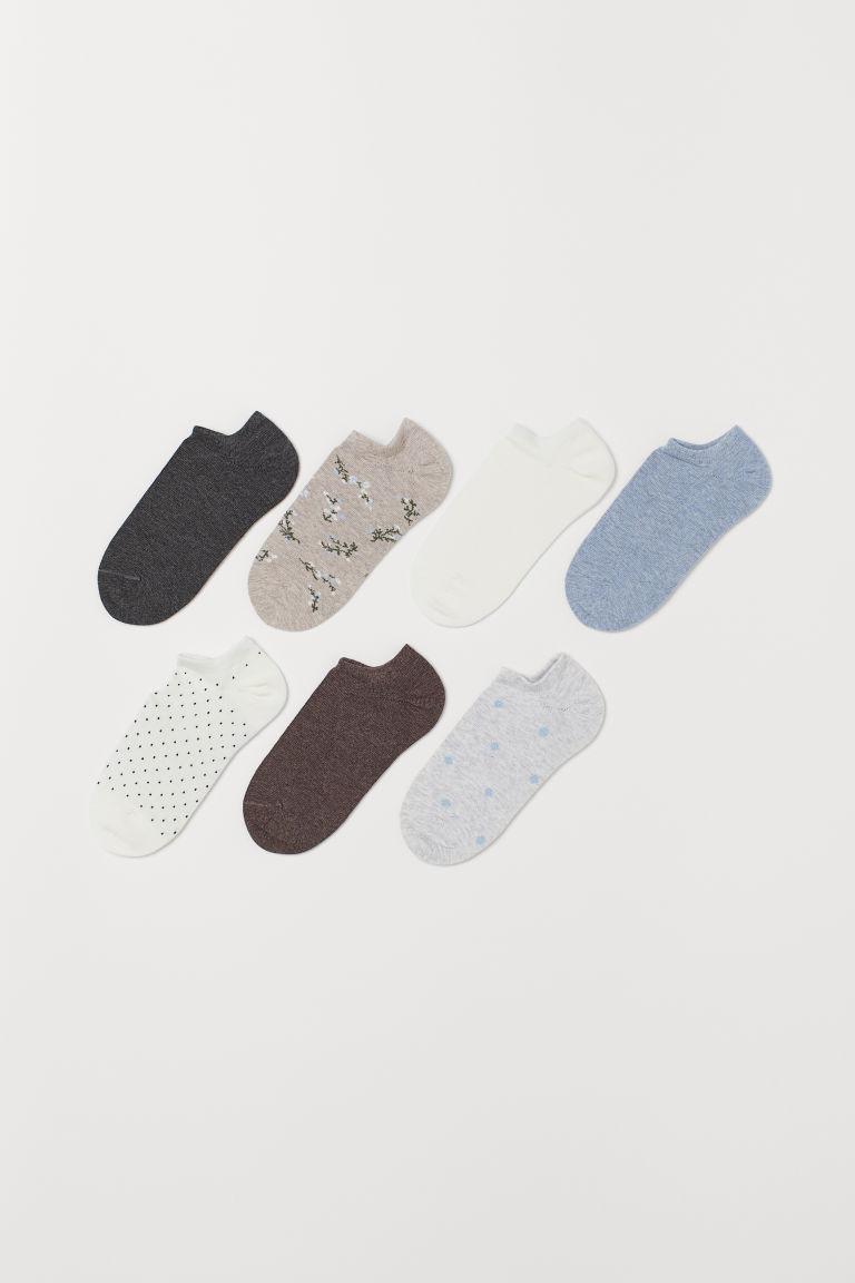 7-pack trainer socks - Beige/Floral - Ladies | H&M GB