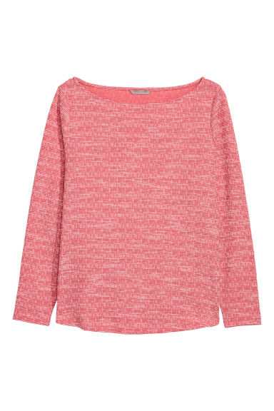 H&M+ Long-sleeved top - Raspberry red - Ladies | H&M CN