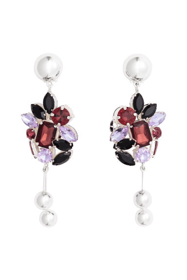 Silver-plated earrings - Silver-coloured/Purple - Ladies | H&M