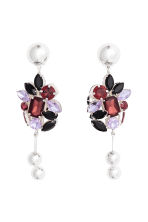 Silver-plated earrings - Silver-coloured/Purple - Ladies | H&M 1