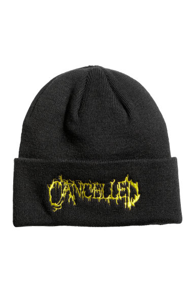 Fine-knit hat - Black/Cancelled - Men | H&M IE