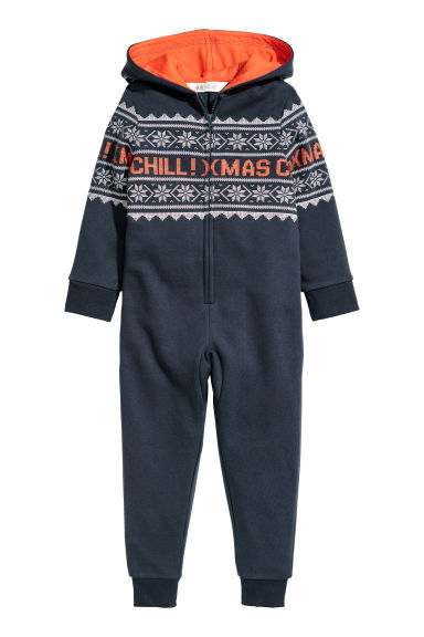 Sweatshirt all-in-one suit - Dark blue/Patterned - Kids | H&M