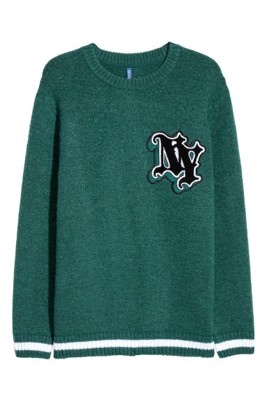 Knitted jumper with embroidery - Dark green - Men | H&M GB