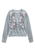 Embroidered velour top - Silver grey-coloured - Ladies | H&M 2