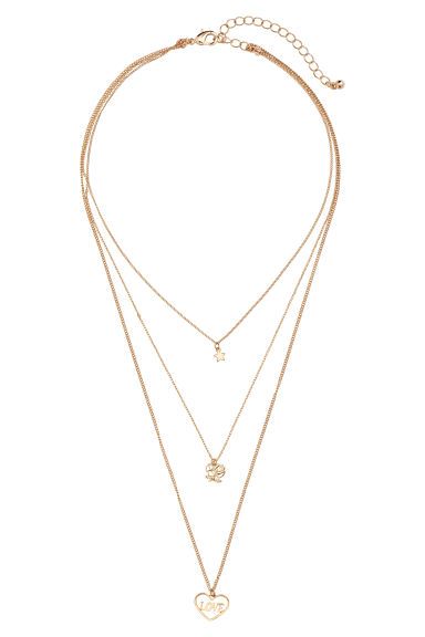 Three-strand necklace - Gold-coloured/Love -  | H&M