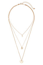 Three-strand necklace - Gold-coloured/Love - Ladies | H&M CN 1