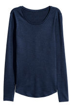 Long-sleeved jersey top - Dark blue marl - Ladies | H&M GB 2