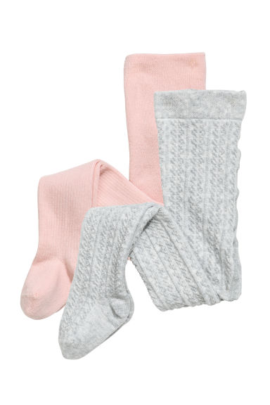 2-pack knitted tights - Pink/Grey marl - Kids | H&M CN