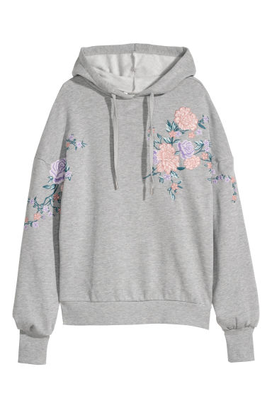 Hooded top with embroidery - Light grey -  | H&M GB